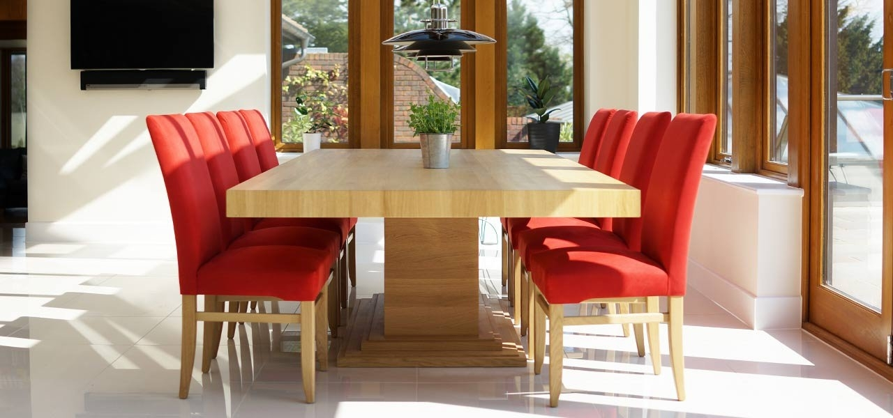 Pedestal Table   Pedestal Dining Table Oak & Walnut   Throughout Glass Dining Tables With Oak Legs (Image 19 of 25)