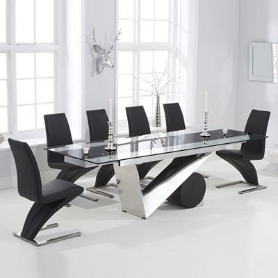 Perona Black Glass Extending Dining Table With 8 Harvey Black Chairs Throughout Black Extendable Dining Tables And Chairs (Image 21 of 25)
