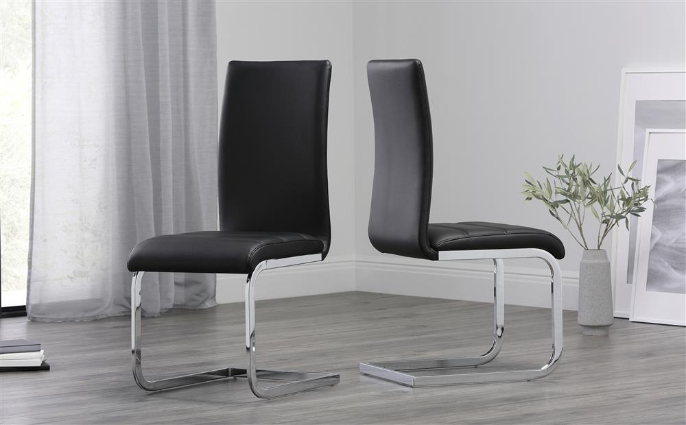 Perth Black Leather Dining Chair Only £ (Image 16 of 25)