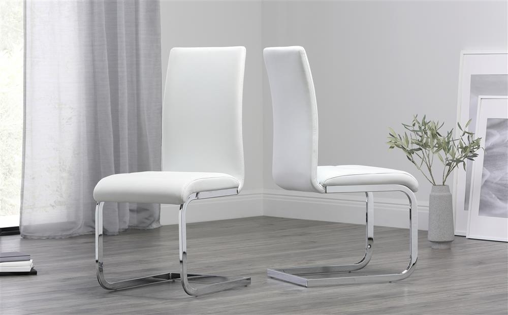 Perth White Leather Dining Chair Only £ (Image 12 of 25)