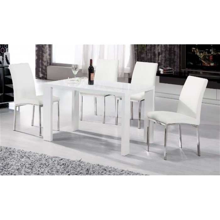 Peru High Gloss Dining Table + 4 Chairs For Black High Gloss Dining Tables And Chairs (Image 21 of 25)
