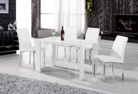 Peru High Gloss White Dining Table With 4 Faux Leather Chairs In Intended For High Gloss White Dining Tables And Chairs (Image 22 of 25)