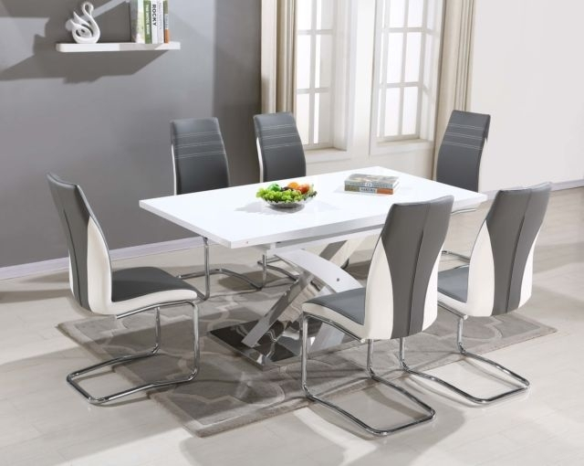 Pescara Glass Dining Table Set And 6 Upholstered Padded Faux Leather With Regard To High Gloss Dining Tables Sets (View 13 of 25)