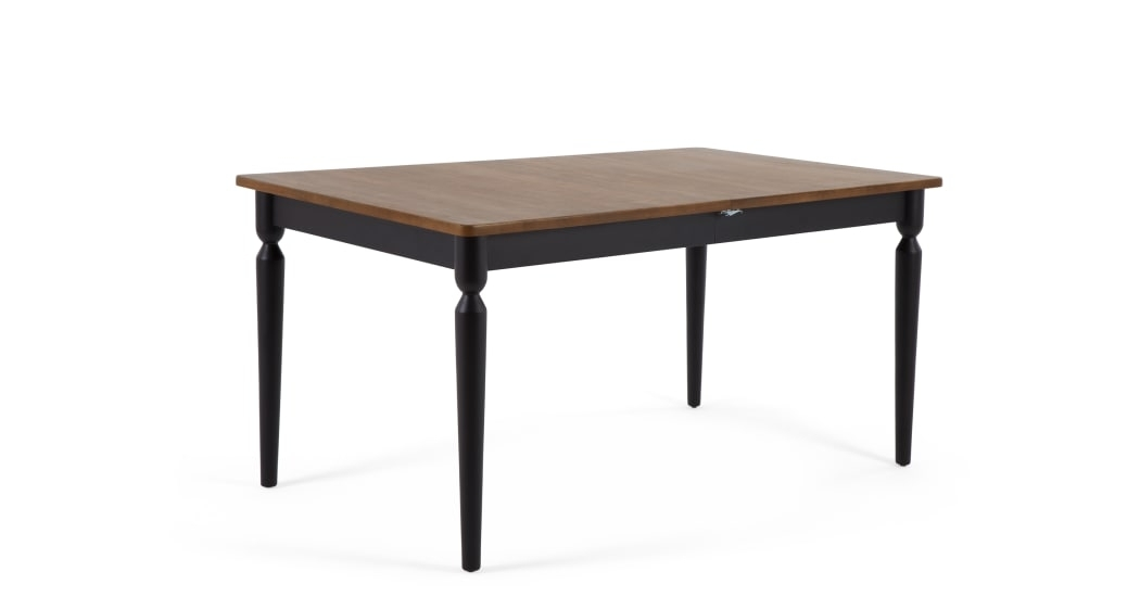 Pherson Double Extending Dining Table, Walnut And Black | Made Within Black Extending Dining Tables (Image 22 of 25)