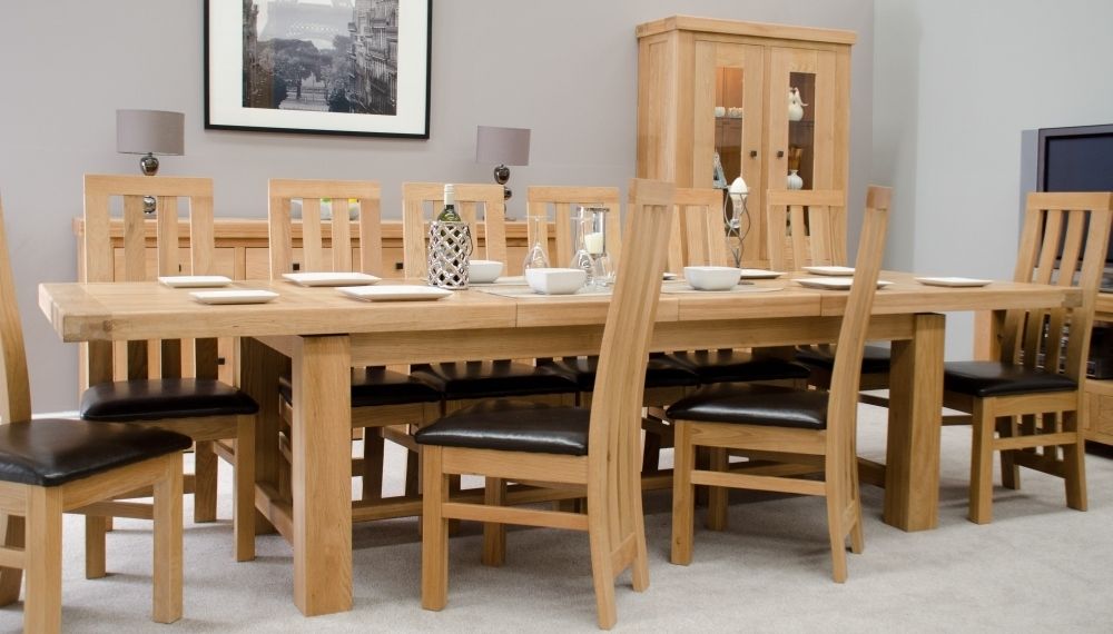 Phoenix Solid Oak Furniture Extra Large Grand Extending Dining Table Intended For Extending Solid Oak Dining Tables (Image 22 of 25)
