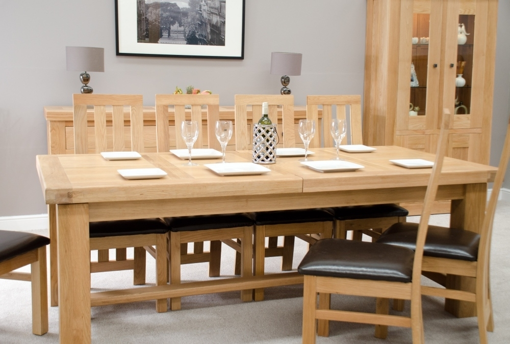 Phoenix Solid Oak Furniture Extra Large Grand Extending Dining Table Within Phoenix Dining Tables (Image 22 of 25)
