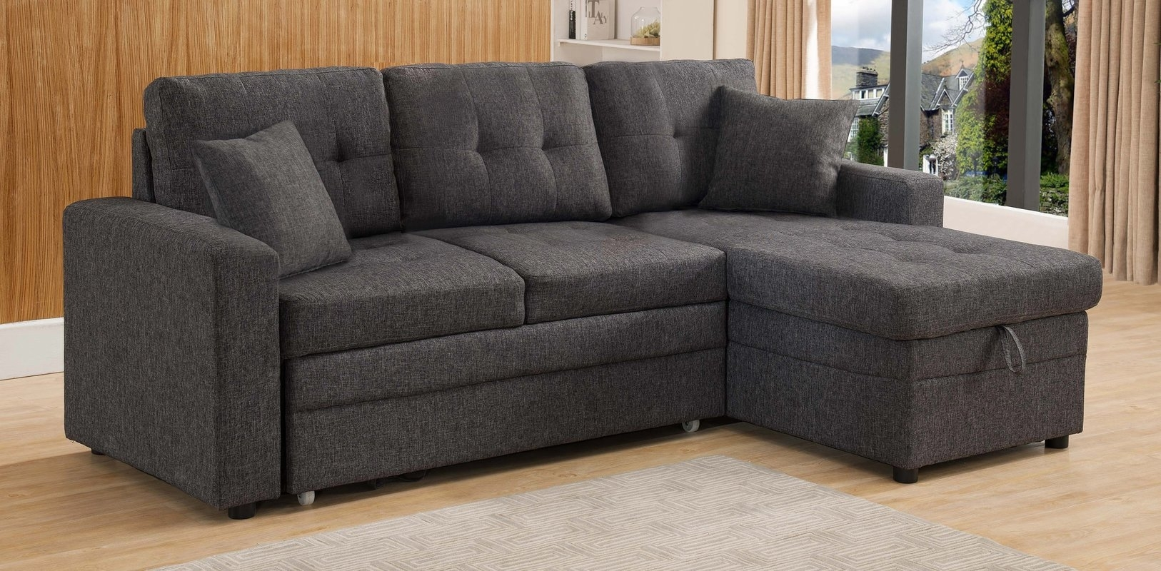 Photos: Sleeper Sofas With Chaise, – Longfabu With Regard To Taren Reversible Sofa/chaise Sleeper Sectionals With Storage Ottoman (Image 14 of 25)