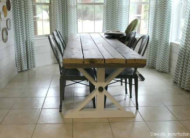 Picnic Style Dining Table Hand Made 2 Tone Farm Table With Picnic In Indoor Picnic Style Dining Tables (Image 19 of 25)
