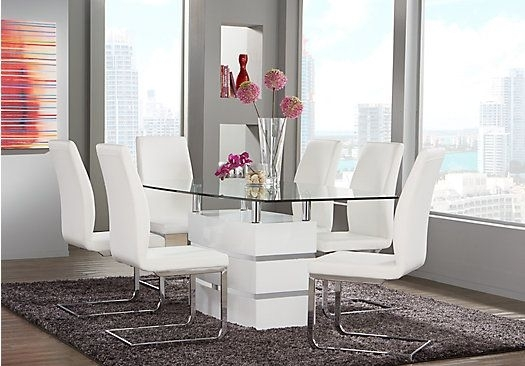 Picture Of Tria White 5 Pc Rectangle Dining Room From Dining Room With Regard To Palazzo 6 Piece Dining Set With Mindy Slipcovered Side Chairs (View 4 of 25)