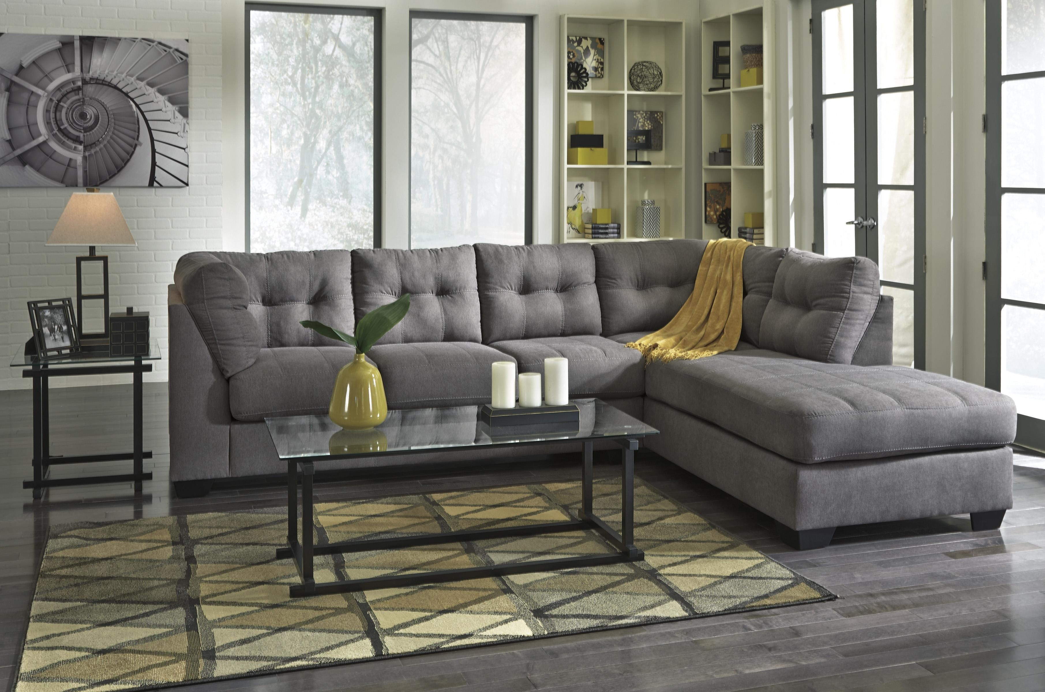 Piece Sectional With Right Chaise Benchcraft Wolf And Products Color Within Aspen 2 Piece Sleeper Sectionals With Laf Chaise (View 9 of 25)