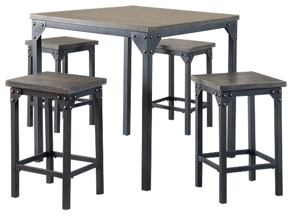 Pierce 5 Piece Counter Height Dining Table With Stools – Industrial Within Pierce 5 Piece Counter Sets (Image 21 of 25)