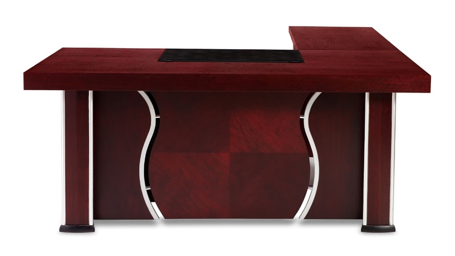 Pierce Mahogany Modern Desk With Storage | Zuri Furniture In Pierce 5 Piece Counter Sets (Image 22 of 25)