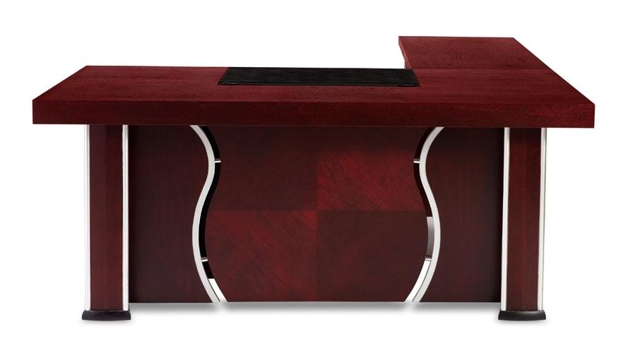 Pierce Mahogany Modern Desk With Storage | Zuri Furniture In Pierce 5 Piece Counter Sets (View 18 of 25)
