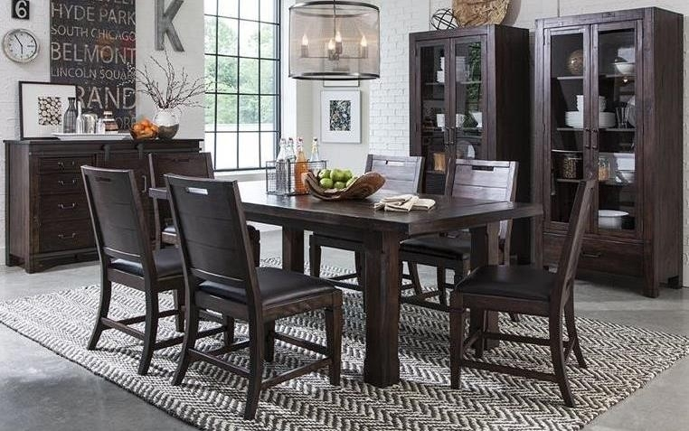 Pine Hill Warm Rustic Pine Extendable Rectangular Dining Room Set Intended For Bale Rustic Grey Dining Tables (Image 19 of 25)
