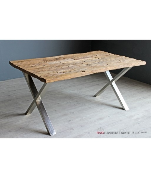 Pinky Furniture | Dining Table Railway Sleeper Design Chrome Legs Within Railway Dining Tables (Image 7 of 25)