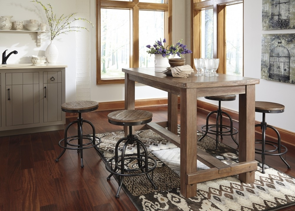 Pinnadel Rect Dining Room Counter Table & 4 Swivel Stools | D542/13 With Regard To Market 5 Piece Counter Sets (View 8 of 25)