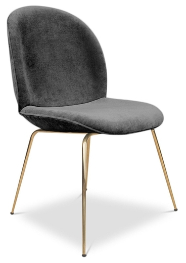 Pipa Velvet Dining Chair, Dark Gray Within Velvet Dining Chairs (Image 19 of 25)