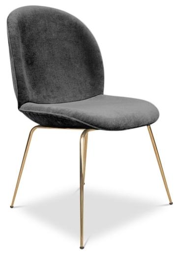 Pipa Velvet Dining Chair, Dark Gray Within Velvet Dining Chairs (Image 19 of 25)