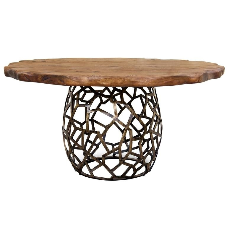 Pisa Dining Table Dark Aged Brass Base And Stained Oak Top For Sale With Pisa Dining Tables (Photo 14 of 25)