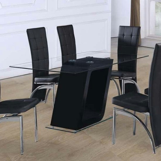 Pisa Glass Dining Table In Clear With Black Gloss Pedestal Inside Pisa Dining Tables (Image 15 of 25)