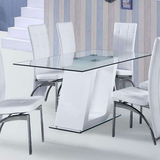Pisa Glass Dining Table In Clear With White Gloss Pedestal | Dining Throughout Pisa Dining Tables (Photo 20 of 25)