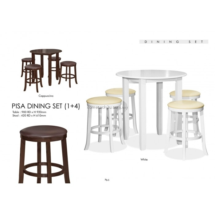 Pisa Rounded Dining Table With Stools Set 1+4 Intended For Pisa Dining Tables (Image 18 of 25)
