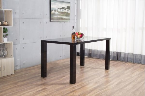 Pivero Black High Gloss Dining Set | Furniturebox With Regard To Black Gloss Dining Sets (Image 21 of 25)