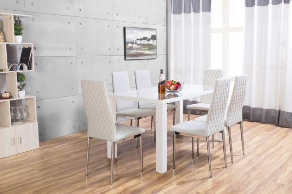 Pivero High Gloss White Dining Set | Furniturebox Intended For White Dining Tables And Chairs (Image 16 of 25)