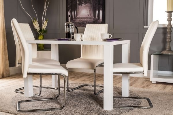 Pivero White High Gloss Dining Table And 4 Lorenzo Chairs Set Intended For Dining Table Chair Sets (Image 20 of 25)