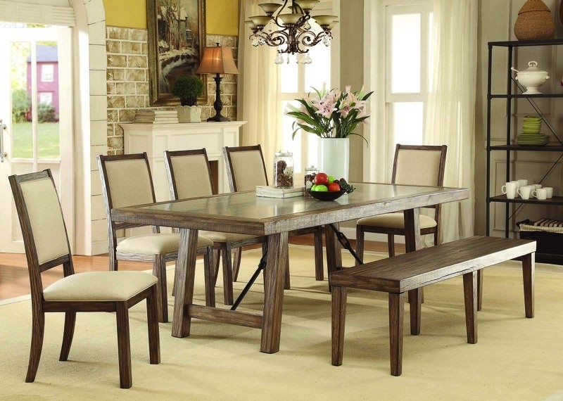 Plain Design Dining Room Sets With Fabric Chairs Norwood 6 Piece For Norwood 9 Piece Rectangular Extension Dining Sets With Uph Side Chairs (View 18 of 25)