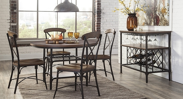 Plain Design Dining Room Sets With Fabric Chairs Norwood 6 Piece Throughout Norwood Rectangle Extension Dining Tables (Image 21 of 25)