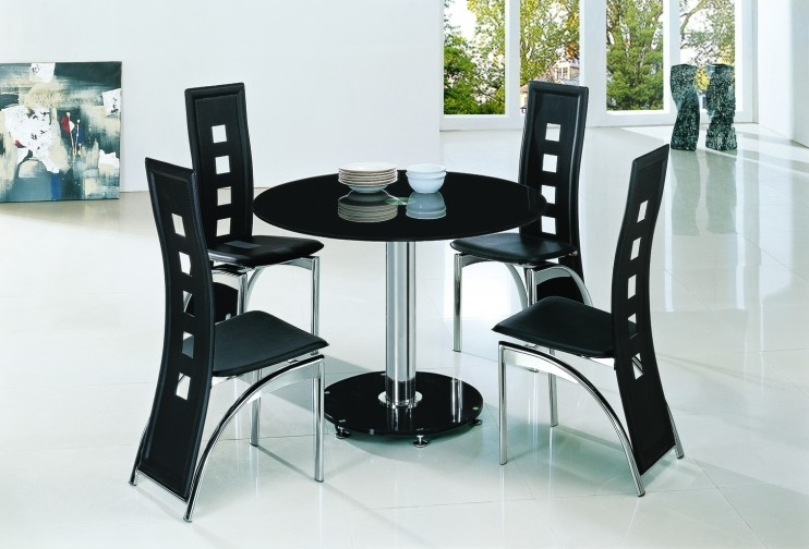 Planet Black Round Glass Dining Table With Alison Chairs Pertaining To Black Glass Dining Tables (View 17 of 25)