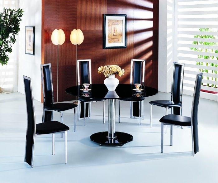 Planet Large Round Black Glass Dining Table With Amalia Chairs With Regard To Round Black Glass Dining Tables And Chairs (Image 18 of 25)