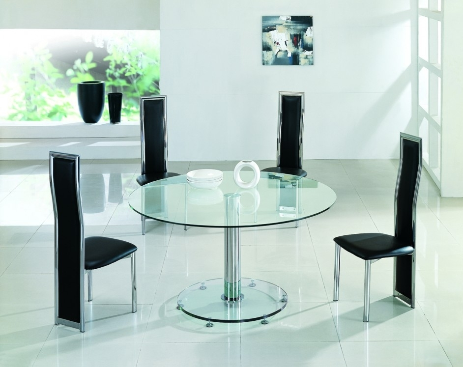 Planet Large Round Clear Glass Dining Table | Modenza Furniture Within Glass Dining Tables And Leather Chairs (View 25 of 25)