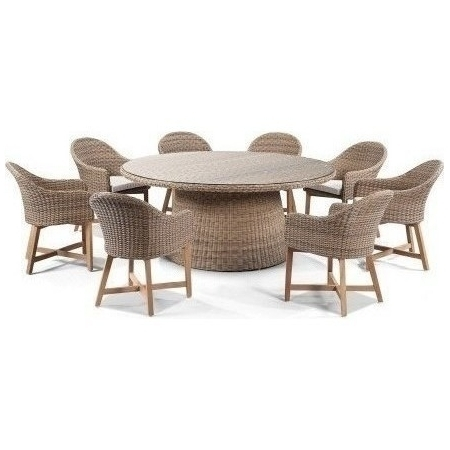 Plantation Outdoor Dining Set W/ 8 Chairs In Wheat | Buy 8 Seat Intended For 8 Seat Outdoor Dining Tables (Image 23 of 25)