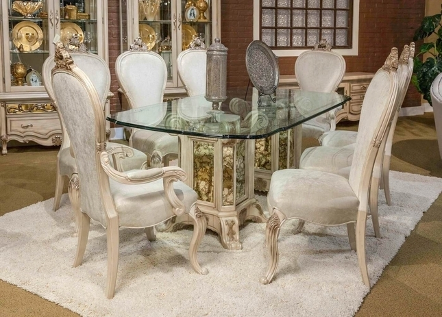 """Platine De Royal 5 Pc French Provincial 102"""" Glass Top Dining Table Set For Royal Dining Tables (View 14 of 25)"""