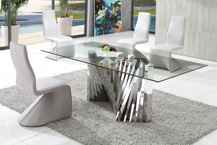 Plisset Italian Design Glass Dining Table With Armani Modern Dining With Modern Dining Tables (Image 23 of 25)