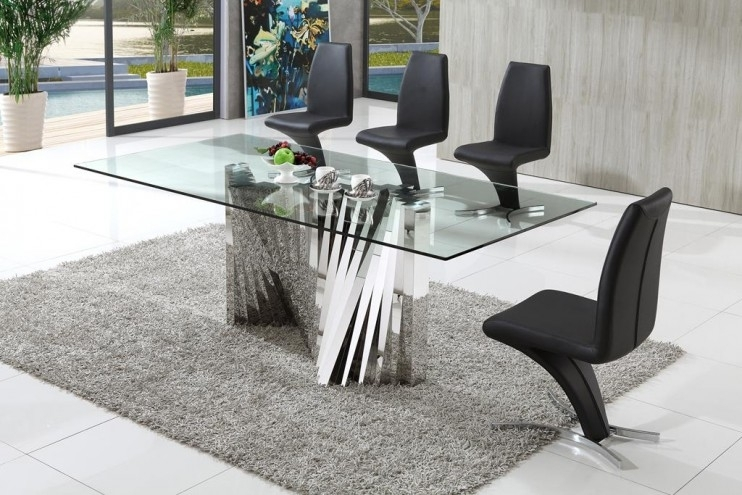 Plisset Italian Designs Clear Glass Dining Table With Aldo Faux For Clear Glass Dining Tables And Chairs (Image 21 of 25)