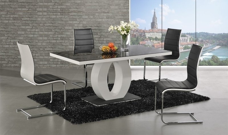 Polo Glass White High Gloss Dining Table 6 Chairs – Homegenies For Black Gloss Dining Tables And 6 Chairs (View 6 of 25)