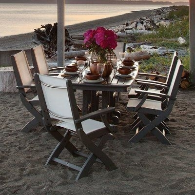 Polywood® Coastal 7 Piece Dining Set Finish: Slate Grey | Coastal Pertaining To Chapleau Ii 7 Piece Extension Dining Tables With Side Chairs (Image 24 of 25)