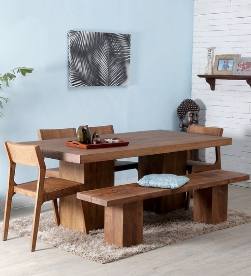 Portland Solid Wood Six Seater Dining Set In Premium Acacia Finish Regarding Six Seater Dining Tables (Image 18 of 25)