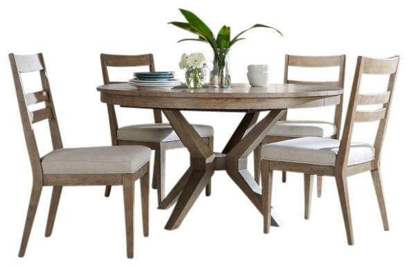 Portswood 5 Piece Dining Set – Transitional – Dining Sets – Intended For Jaxon 5 Piece Round Dining Sets With Upholstered Chairs (Image 16 of 25)