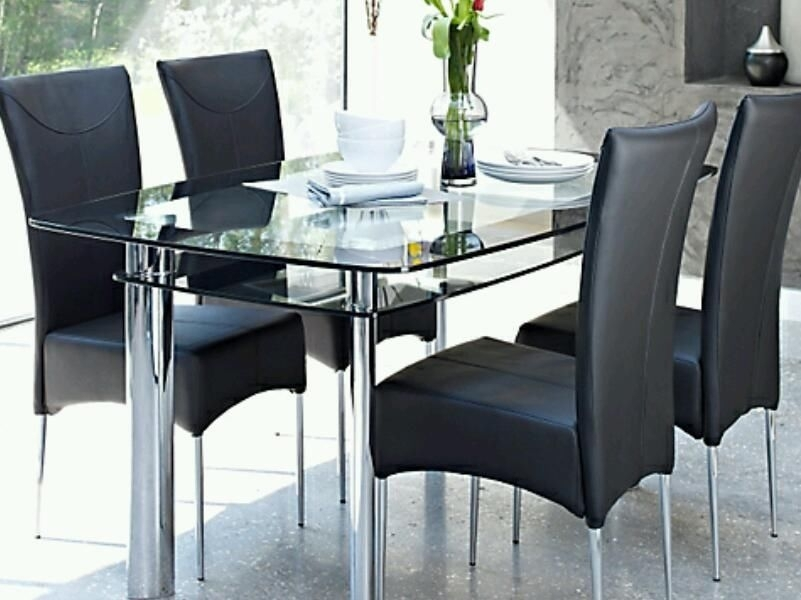 Postadsuk Harveys Glass Dining Table 6 Chairs – Pelham Furniture Within Glass Dining Tables And 6 Chairs (View 5 of 25)