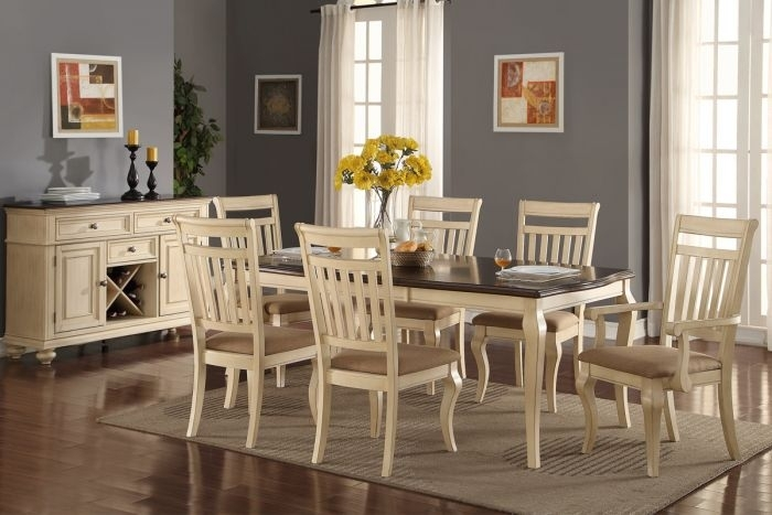 Pounde F2343 Set Cream Wood 7Pcs Formal Dining Table Set With Cream And Wood Dining Tables (View 25 of 25)