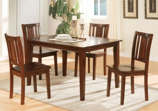 Poundex F2249 Dark Cherry Finish Wooden Dining Table And 4 Chairs With Valencia 5 Piece Round Dining Sets With Uph Seat Side Chairs (View 18 of 25)