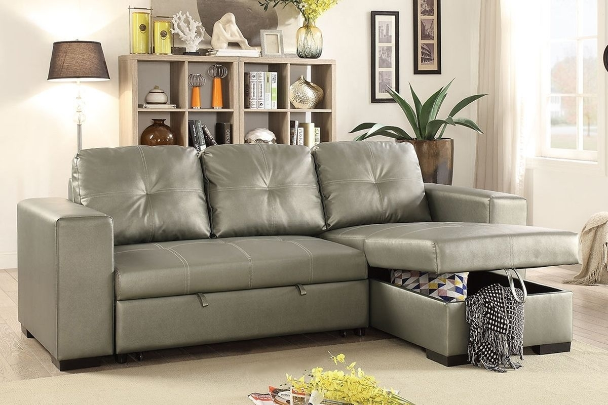 Poundex F6919 Silver Faux Leather Convertible Sectional Sofa Bed Pertaining To Aidan 4 Piece Sectionals (View 16 of 25)