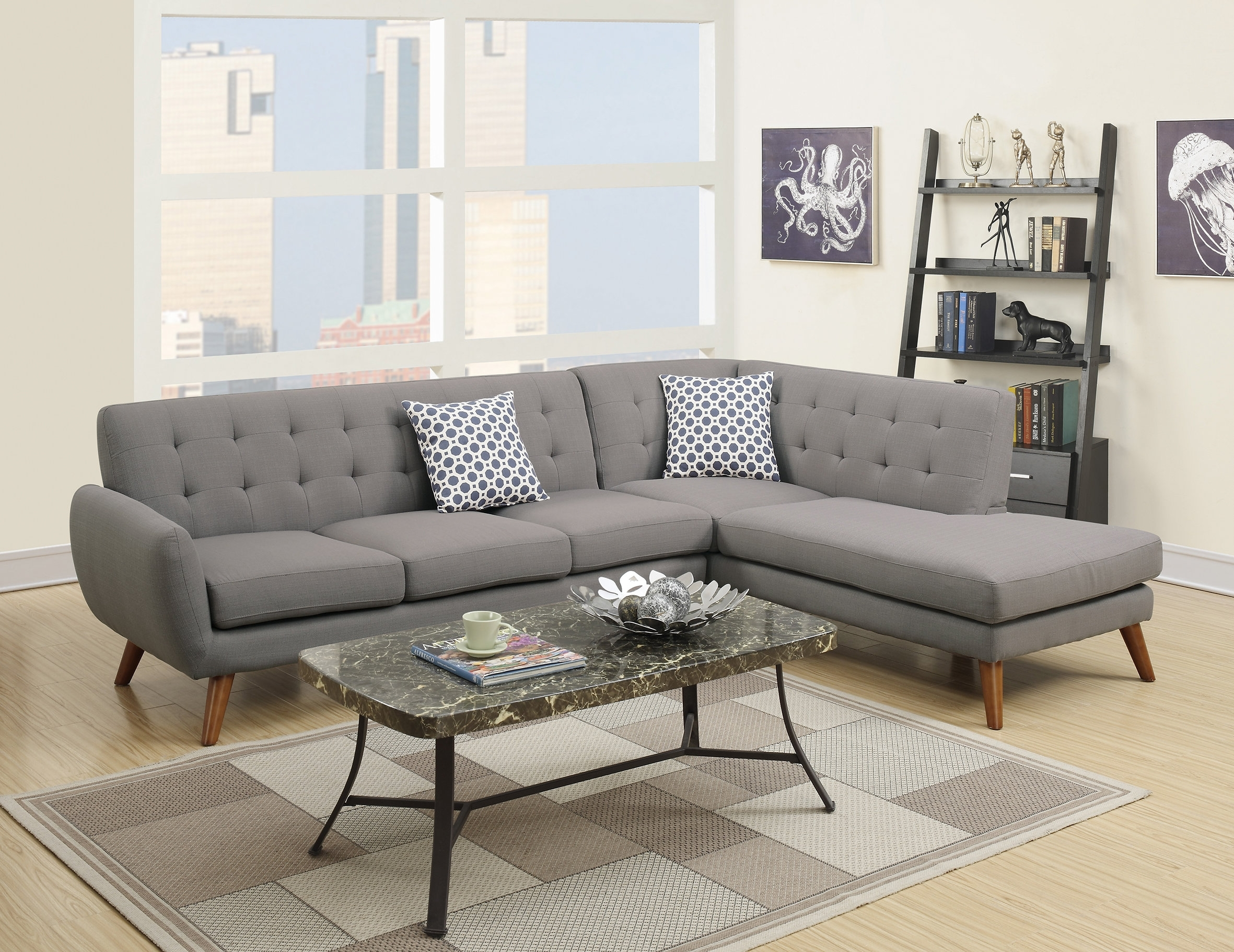 Poundex | Wayfair Within Aidan 4 Piece Sectionals (Image 21 of 25)