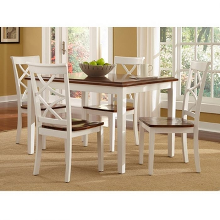 Powell 14D2041 Harrison Cherry And White 5 Piece Dining Set Throughout Gavin 6 Piece Dining Sets With Clint Side Chairs (View 2 of 25)