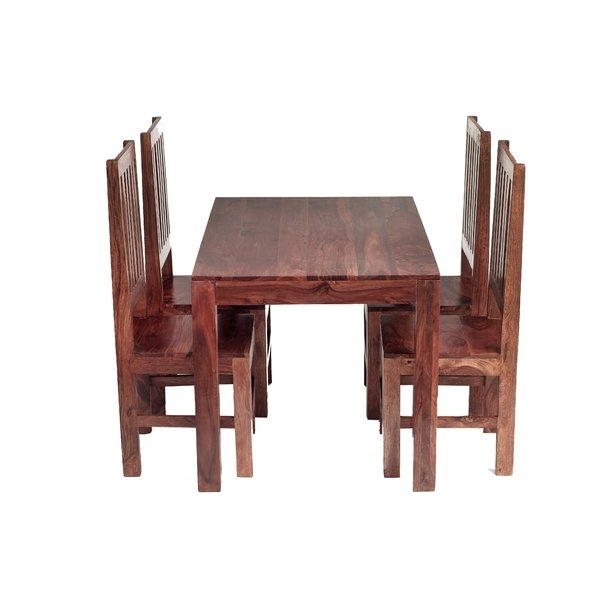 Prestington Cube Sheesham Dining Table And 4 Chairs & Reviews In Cube Dining Tables (Image 25 of 25)