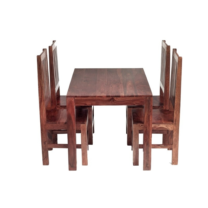 Prestington Cube Sheesham Dining Table And 4 Chairs & Reviews With Regard To Sheesham Dining Tables And Chairs (View 13 of 25)